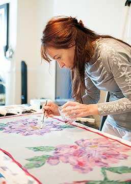 Diana, hand painting custom silks