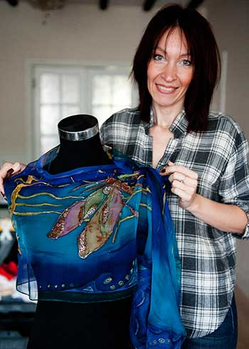 Hand painted silk scarf by Diana
