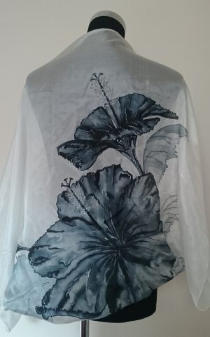 Bolero ''Hibiscus in white and grey''