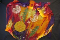 Bespoke hand painted in yellow, orange, purple background scarf ''Colourful summer''