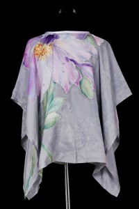 Unique hand painted silk Habotai top ''Flowers in the he Rain''