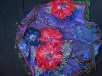 Unique hand painted silk Chiffon scarf ''Anemones''