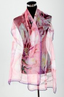 Unique, hand made, hand painted, silk, chiffon, scarf, pink, 180cm x 45cm
