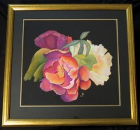 Unique free hand painted silk picture ''Vibrant Peonies''