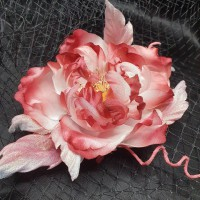 Silk flower Rose brooch with magnet