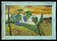 Hand painted silk picture with ''Grapes in Vine fields''