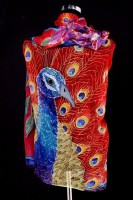 Unique hand painted silk Chiffon scarf ''Peacock''