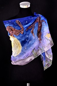 Unique hand painted silk Chiffon scarf ''Hare in the moon''