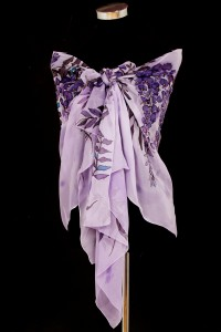 Unique hand painted silk Chiffon scarf ''Purple Wisteria''