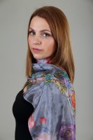 Unique hand painted silk Ponge scarf ''Roses on grey background''