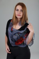Unique hand painted silk Chiffon scarf ''Poppies in grey''