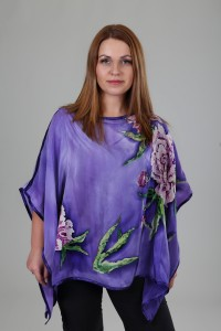 Unique hand painted silk Crepe de Chine top ''Peony in Lilac''