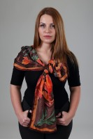 Unique hand painted silk Crepe de Chine scarf ''Poppies in brown''