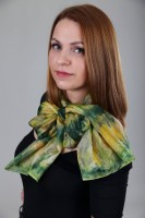 Unique hand painted silk Ponge scarf ''Green and Gold''