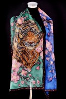 Unique hand painted silk Chiffon scarf ''Wild tiger''
